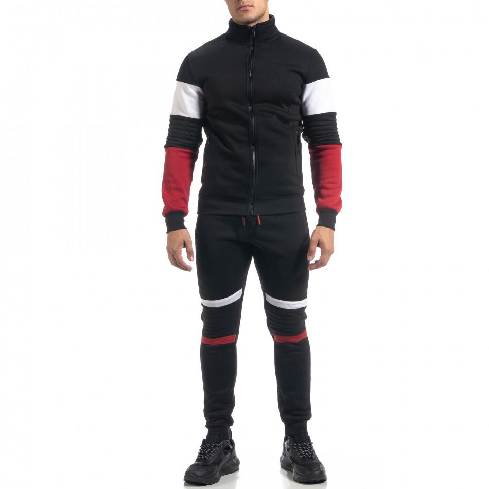 Ανδρικό μαύρο αθλητικό σετ Biker style