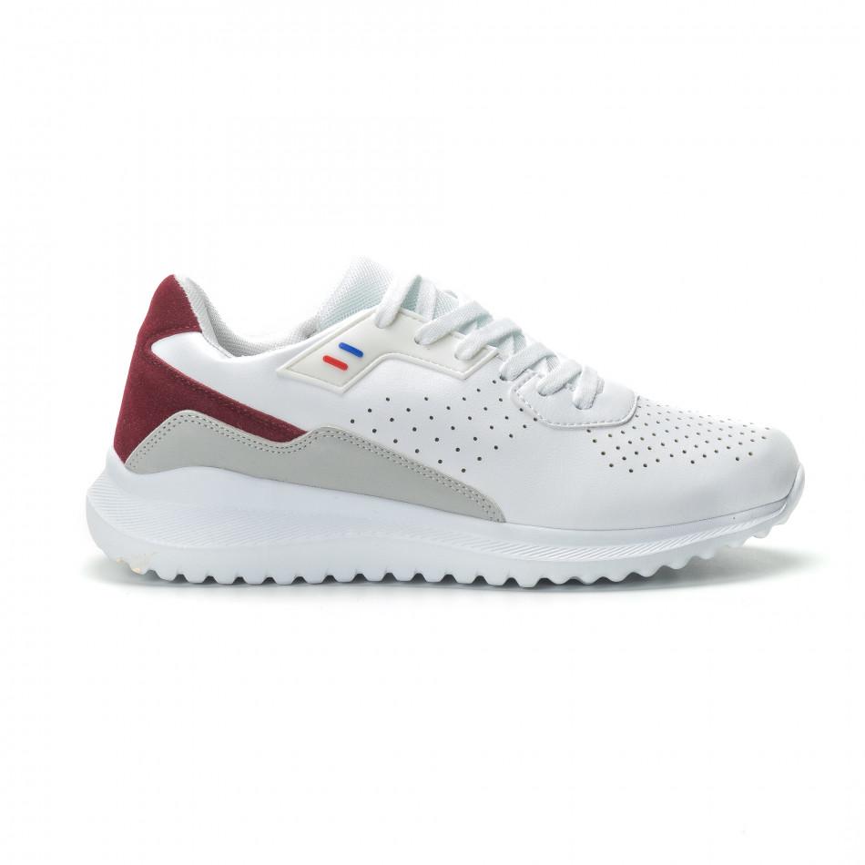 Ανδρικά λευκά αθλητικά παπούτσια με διακοσμήσεις ελαφρύ μοντέλο