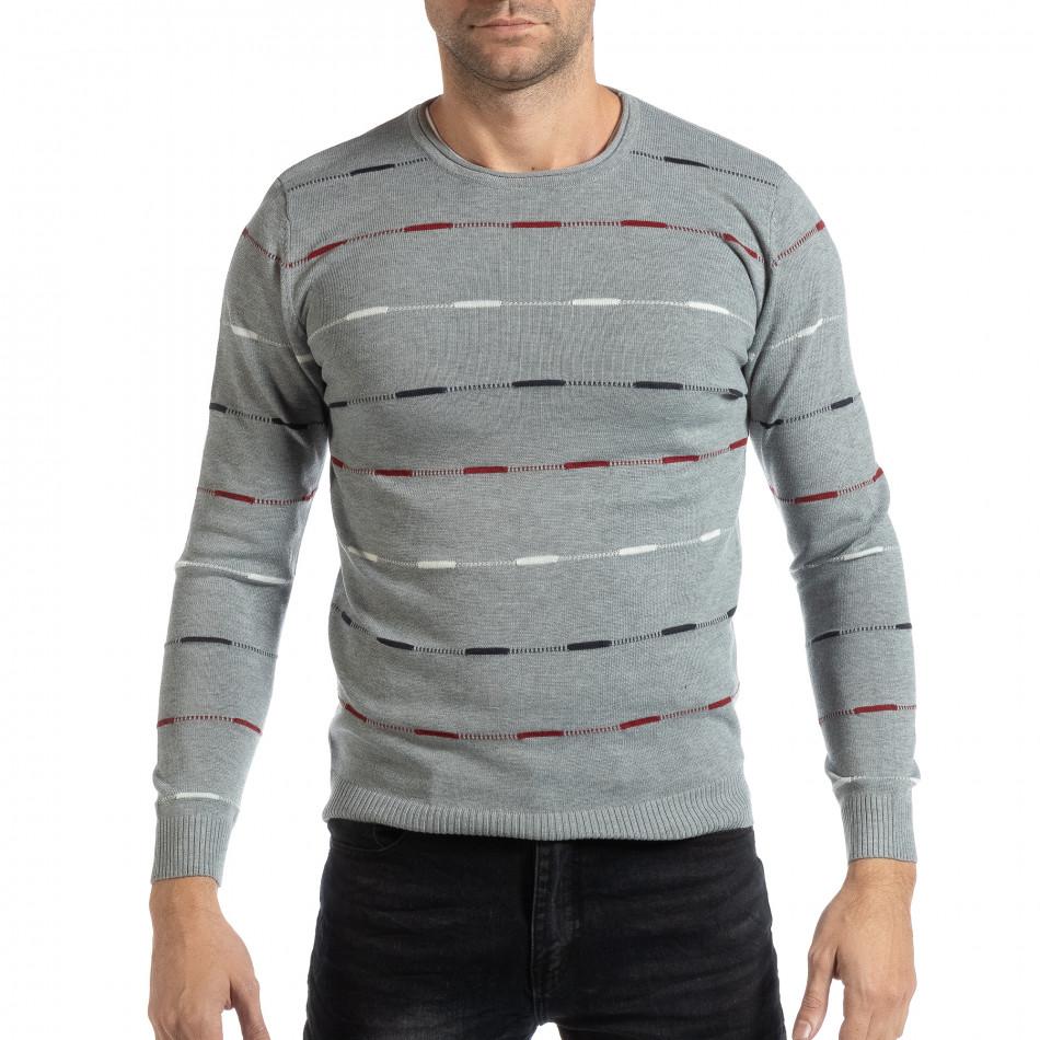 41de01da9bae Ανδρικό γκρι πουλόβερ με πολύχρωμο ριγέ