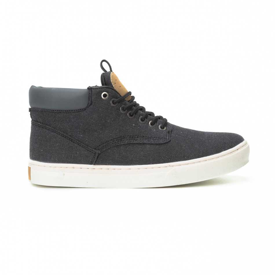 Ανδρικά μαύρα υφασμάτινα sneakers με δερμάτινη λεπτομέρεια c87b134ff56