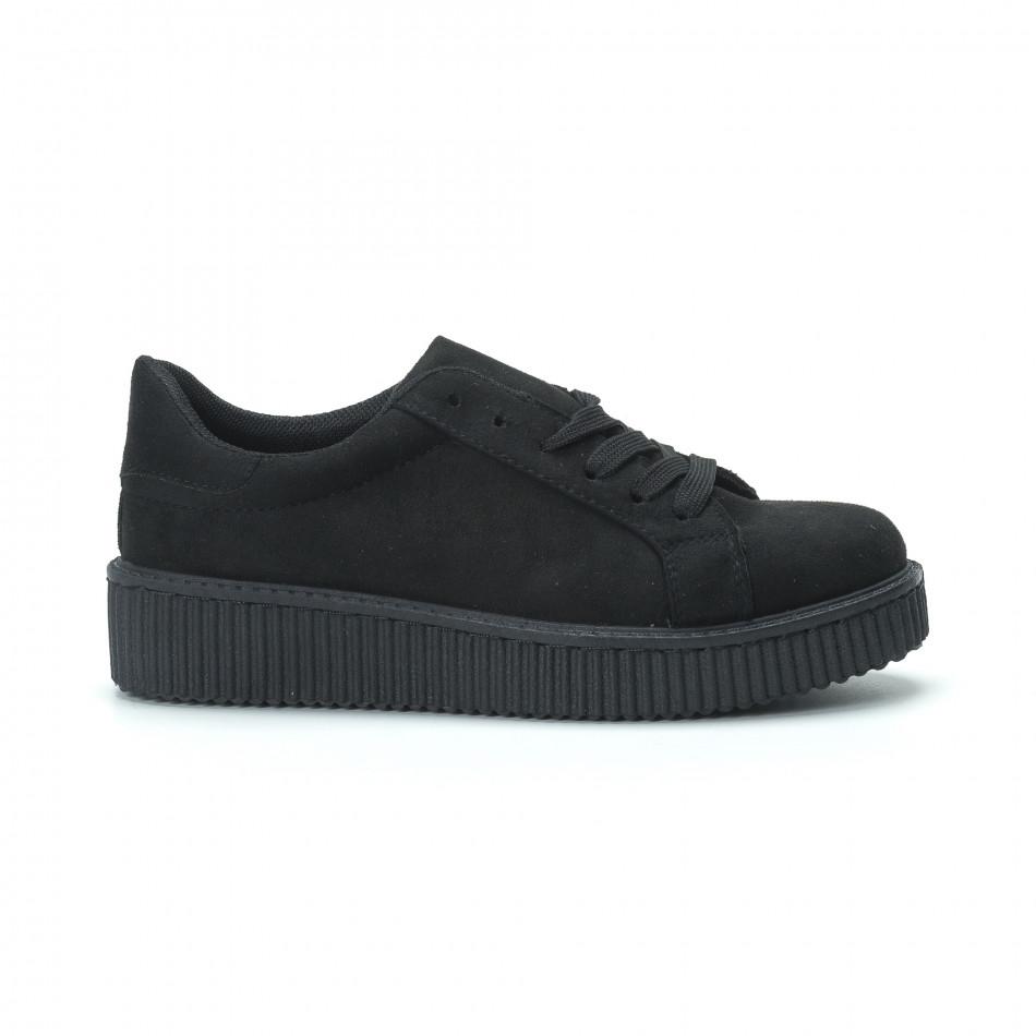 Γυναικεία μαύρα sneakers από οικολογικό σουέτ 266643271f1