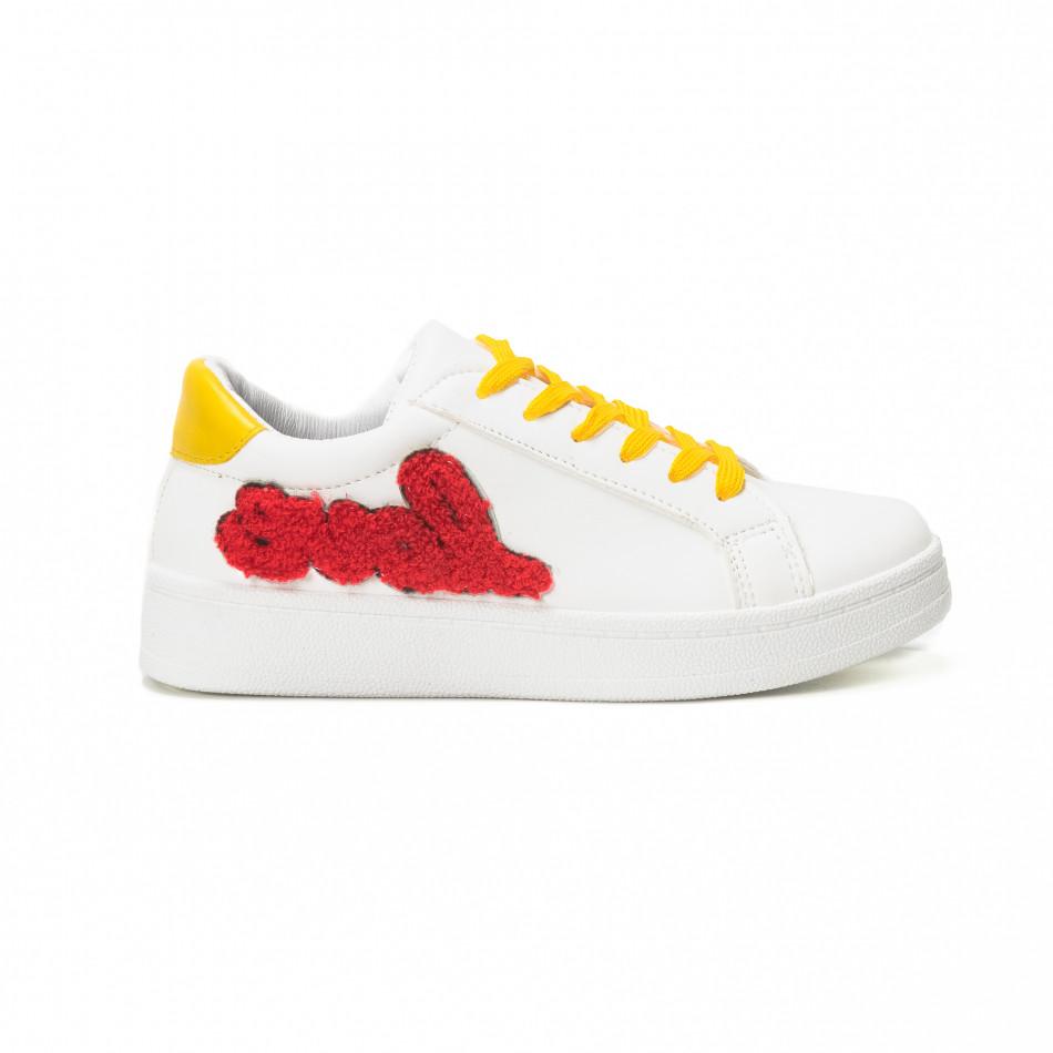 Γυναικεία λευκά sneakers με κίτρινα κορδόνια και κόκκινες λεπτομέρειες