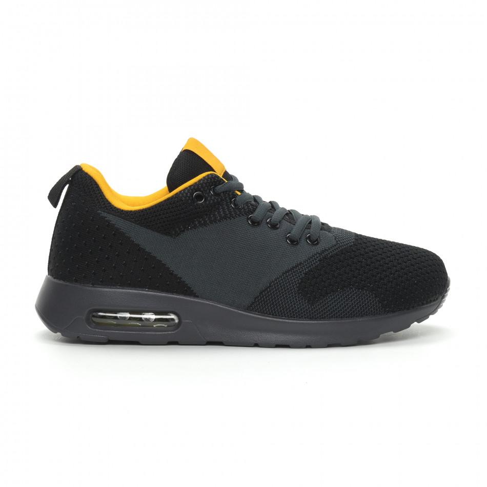 Ανδρικά μαύρα αθλητικά παπούτσια Kiss με αερόσολα
