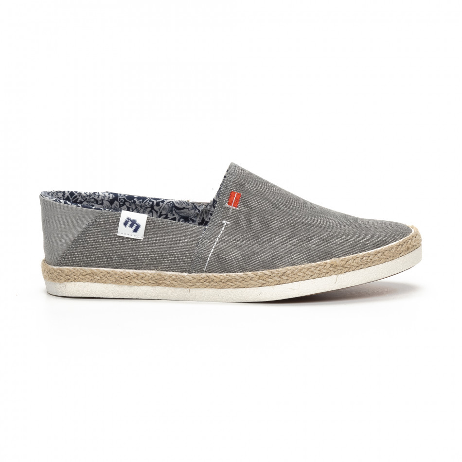 Ανδρικά γκρι Slip-on sneakers τύπου εσπαντρίγιες