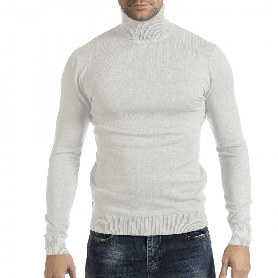 Ανδρικό λευκό πουλόβερ Duca Homme