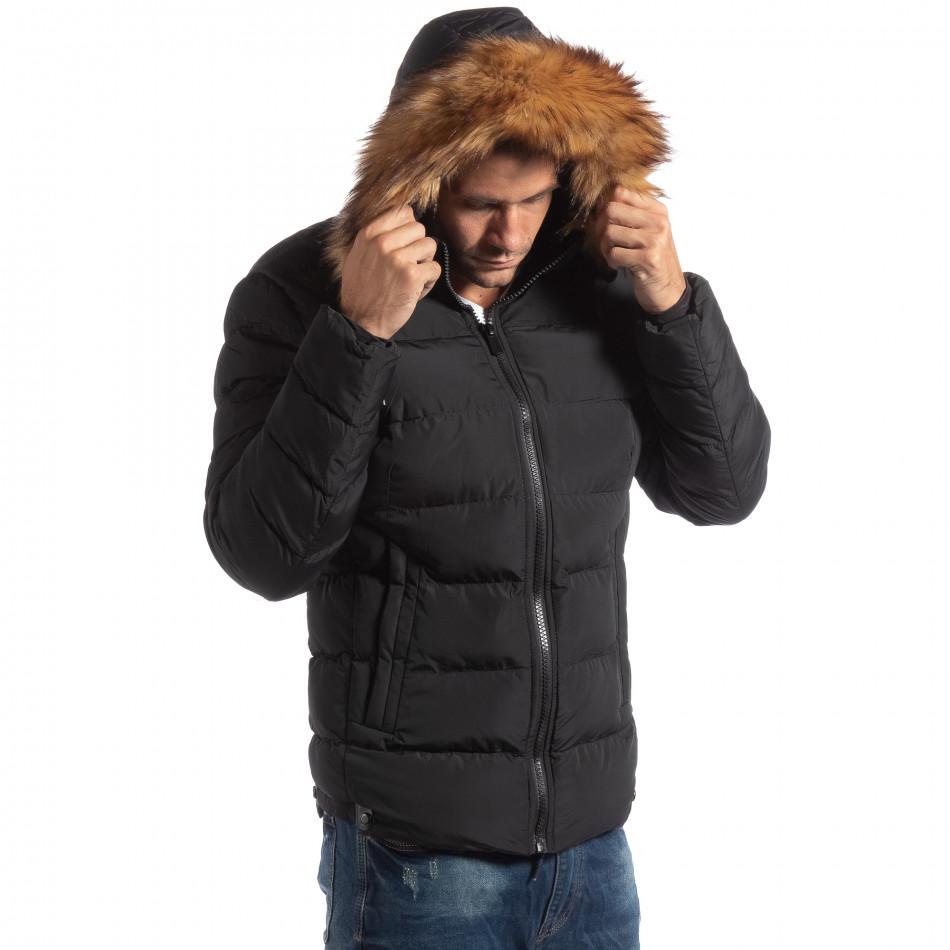 Ανδρικό μαύρο χειμωνιάτικο μπουφάν με επένδυση γούνα. Λεπτομέρειες Αγορά 81769889780