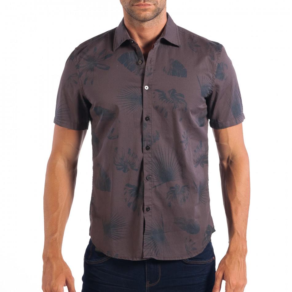26b5e1b5eaa7 Ανδρικό γκρι κοντομάνικο Slim fit πουκάμισο με πριντ RESERVED
