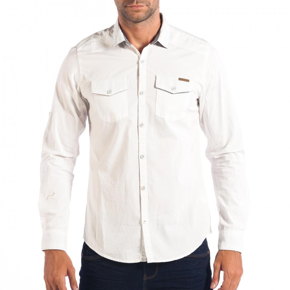 Ανδρικό λευκό πουκάμισο Slim fit CROPP