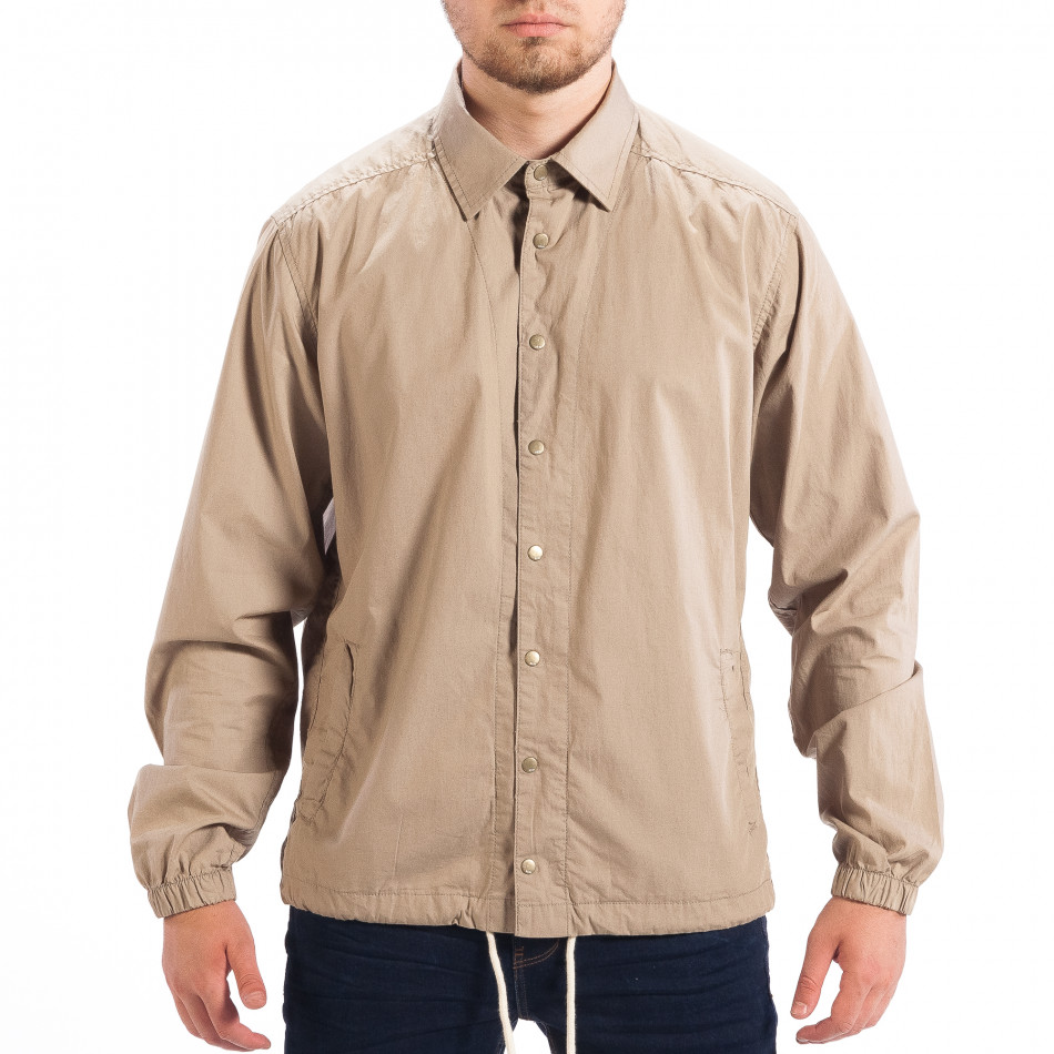 1d2a5764d6f9 Ανδρικό μπεζ Regular fit πουκάμισο τύπου μπουφάν RESERVED