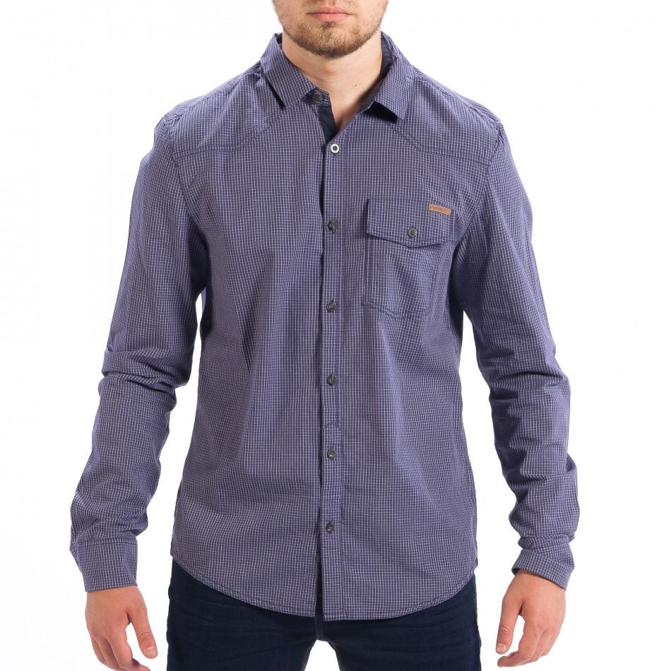 d528f5fbe64e Ανδρικό γαλάζιο καρέ πουκάμισο Slim fit CROPP