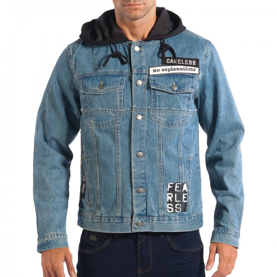 Ανδρικό γαλάζιο τζιν μπουφάν με κουκούλα RESERVED