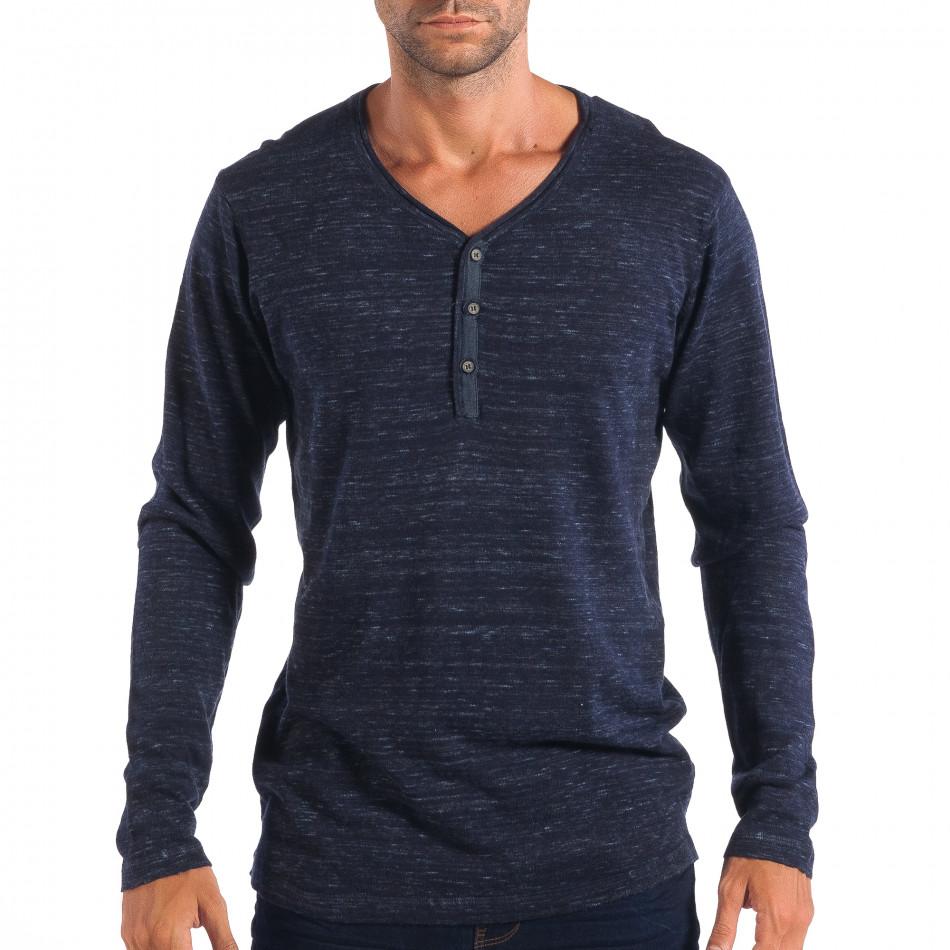 Ανδρικό μπλε πουλόβερ με κομπιά V-neck House