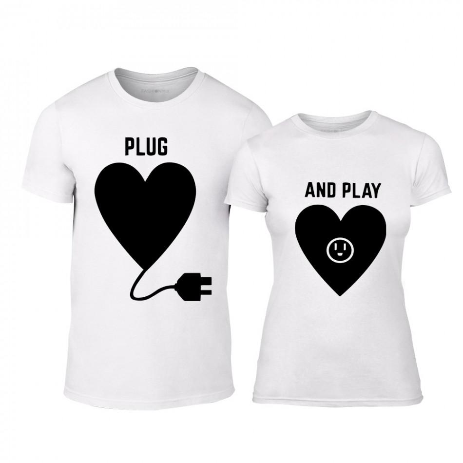 Μπλουζες για ζευγάρια Plug And Play λευκό 324a6cb15ae