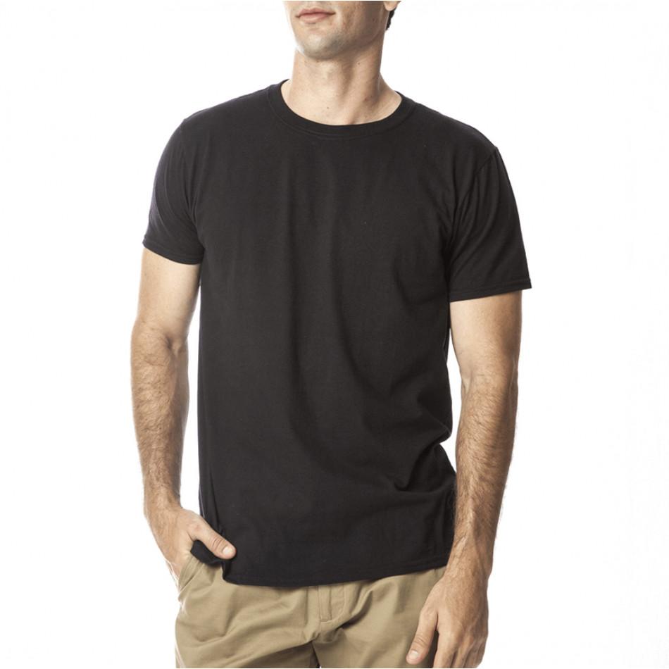 Ανδρική μαύρη κοντομάνικη μπλούζα Basic