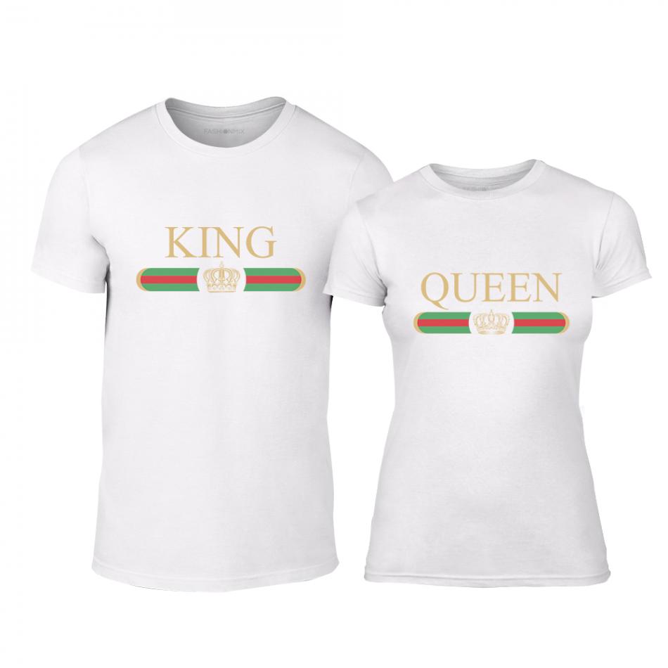 Μπλουζες για ζευγάρια Fashion King Queen λευκό