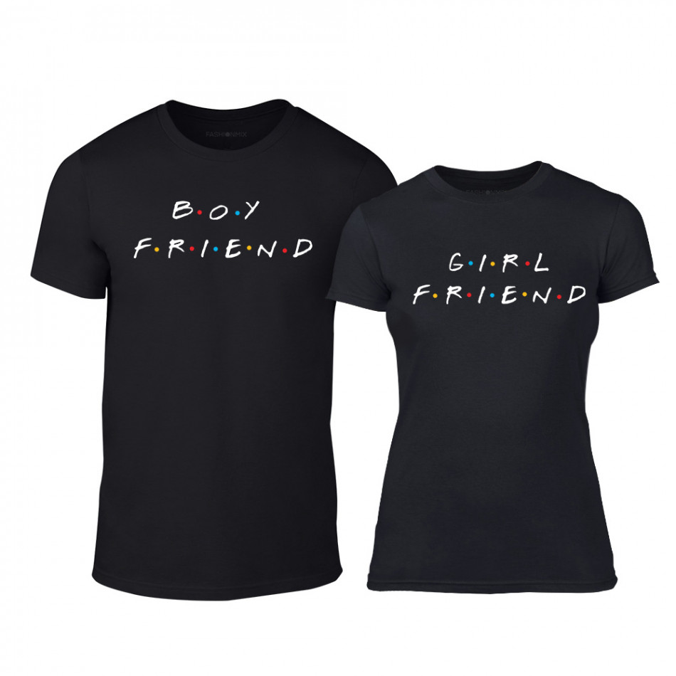 Μπλουζες για ζευγάρια Boyfriend & Girlfriend μαύρο