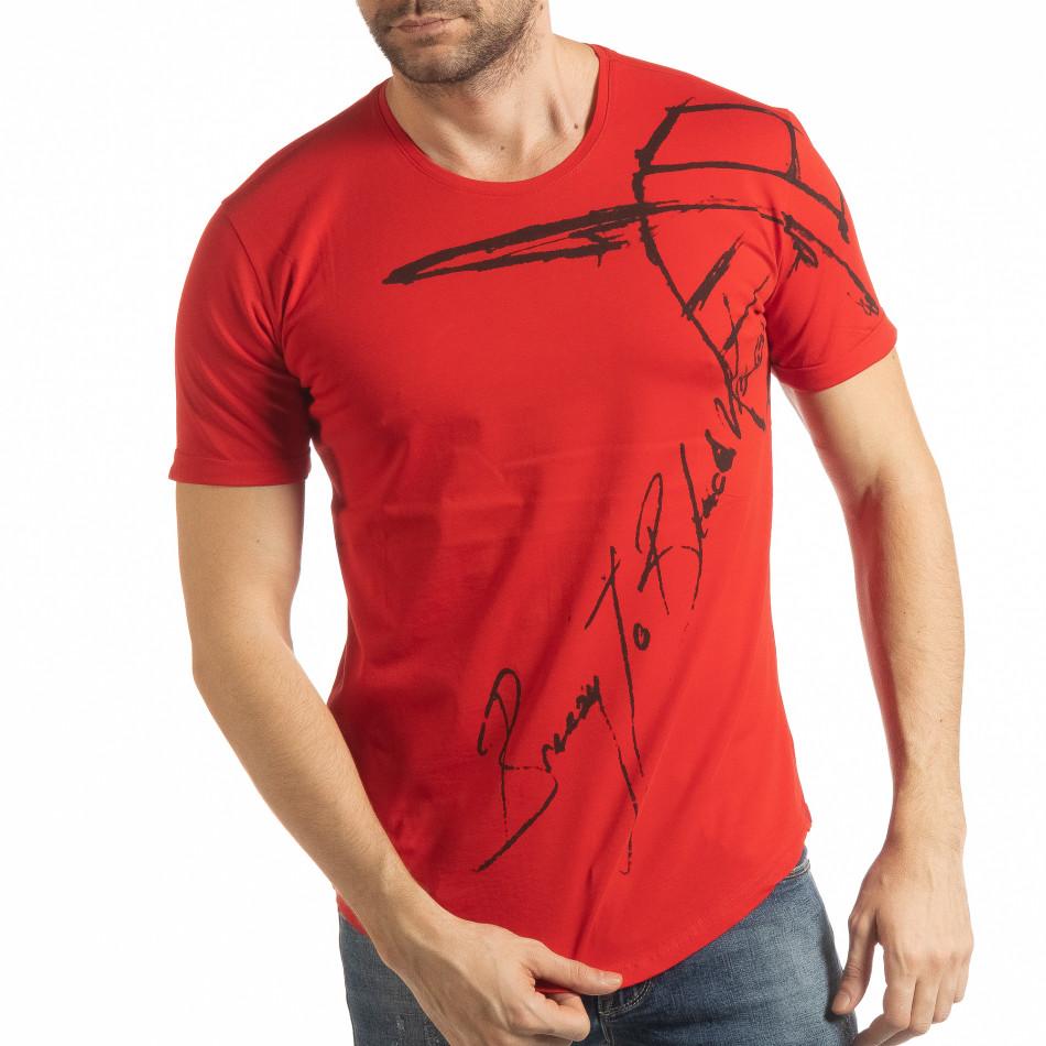 Ανδρική κόκκινη κοντομάνικη μπλούζα με καλλιγραφικό πριντ