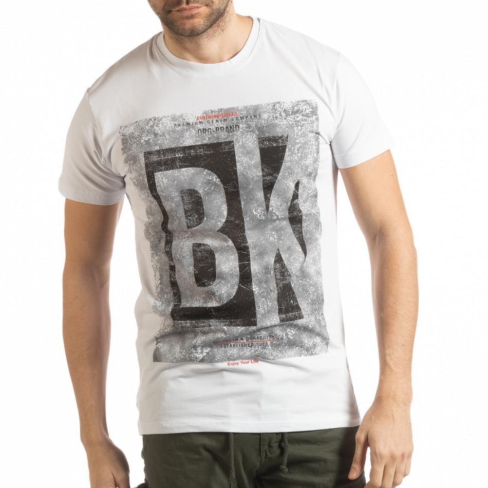 Ανδρική λευκή κοντομάνικη μπλούζα BK