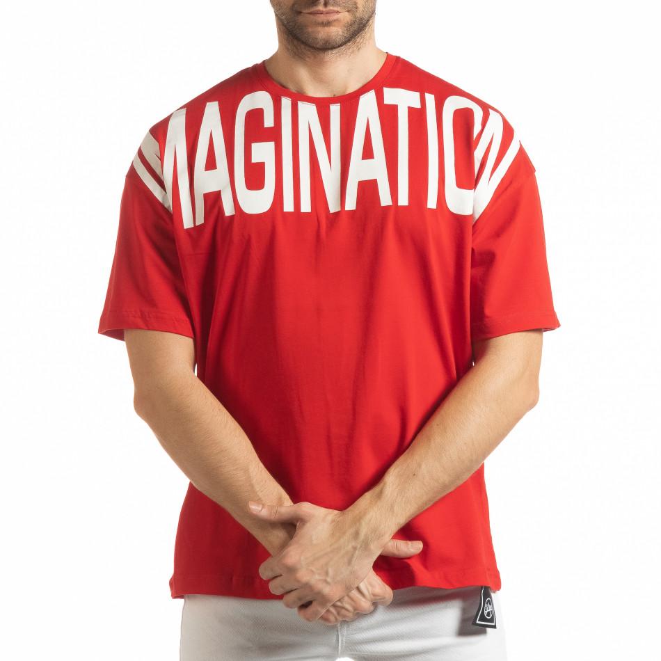 Ανδρική κόκκινη κοντομάνικη μπλούζα Imagination