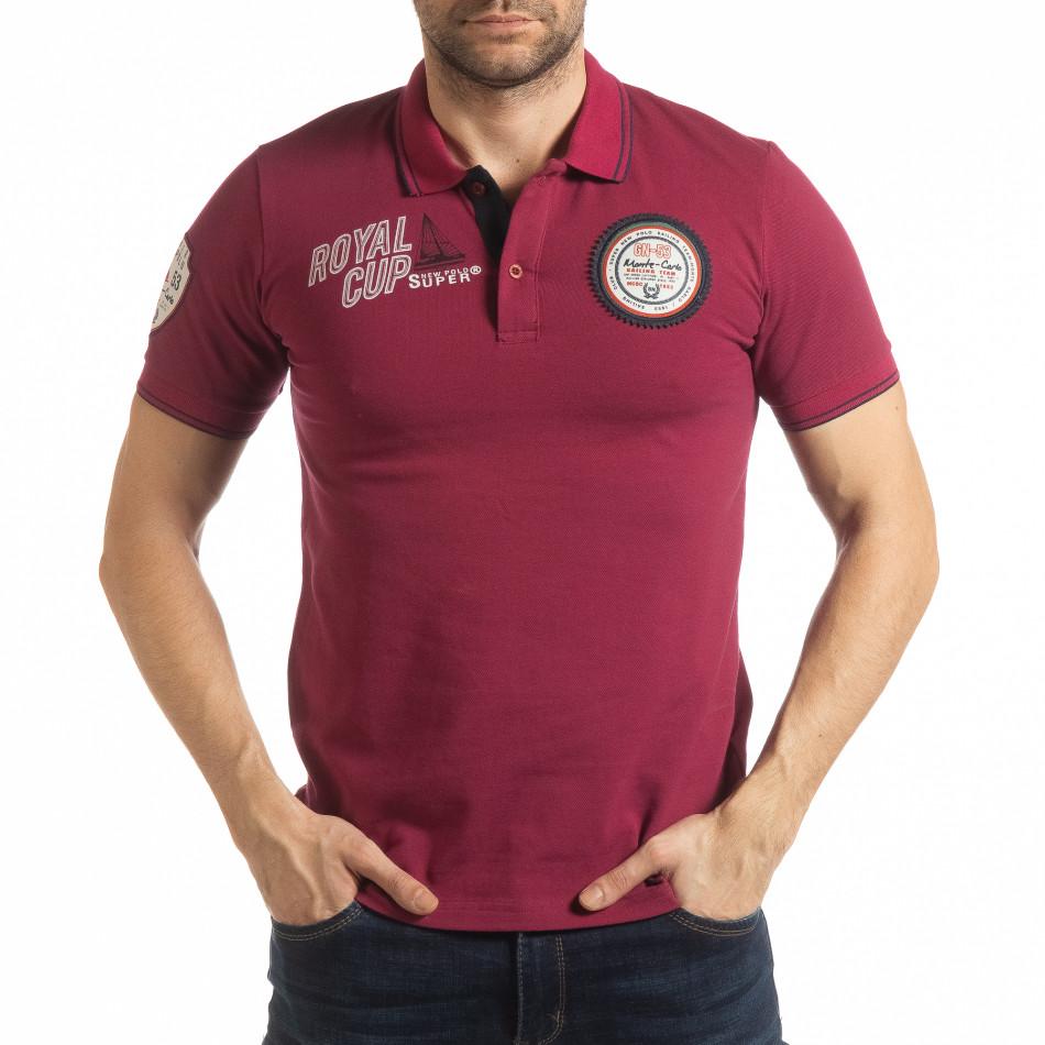 4c456db12edb Ανδρική μπορντό κοντομάνικη polo shirt Royal cup