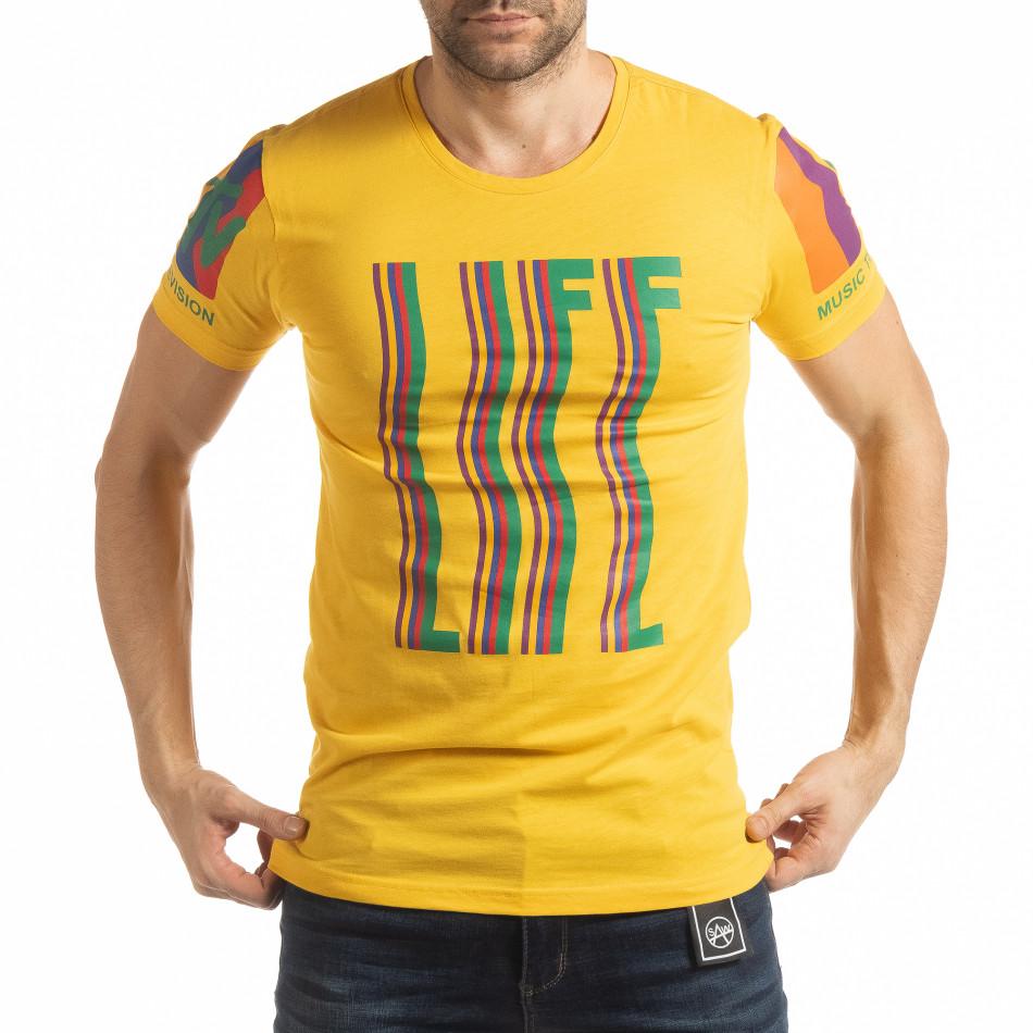 Ανδρική κίτρινη κοντομάνικη μπλούζα MTV Life