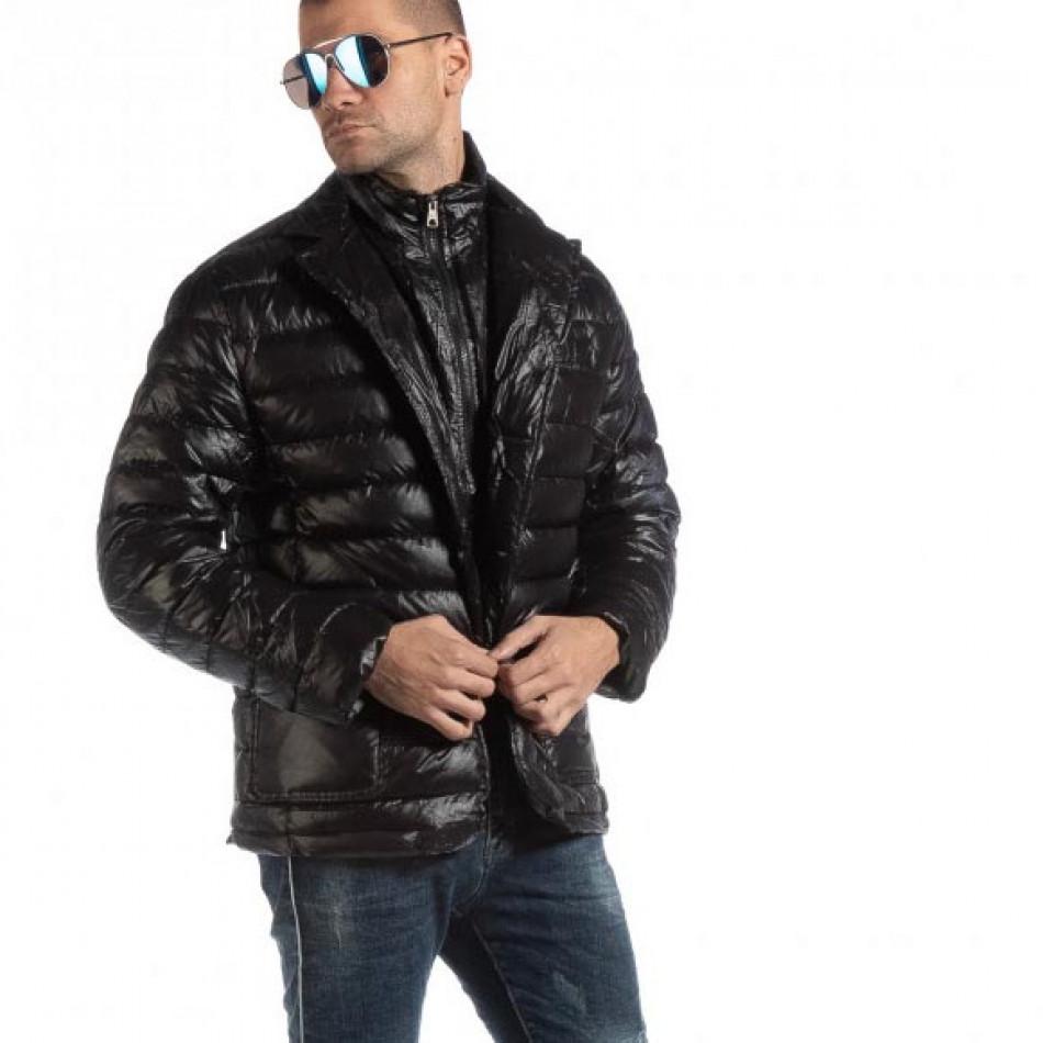 Ανδρικό μαύρο χειμωνιάτικο μπουφάν τύπου μπλέιζερ