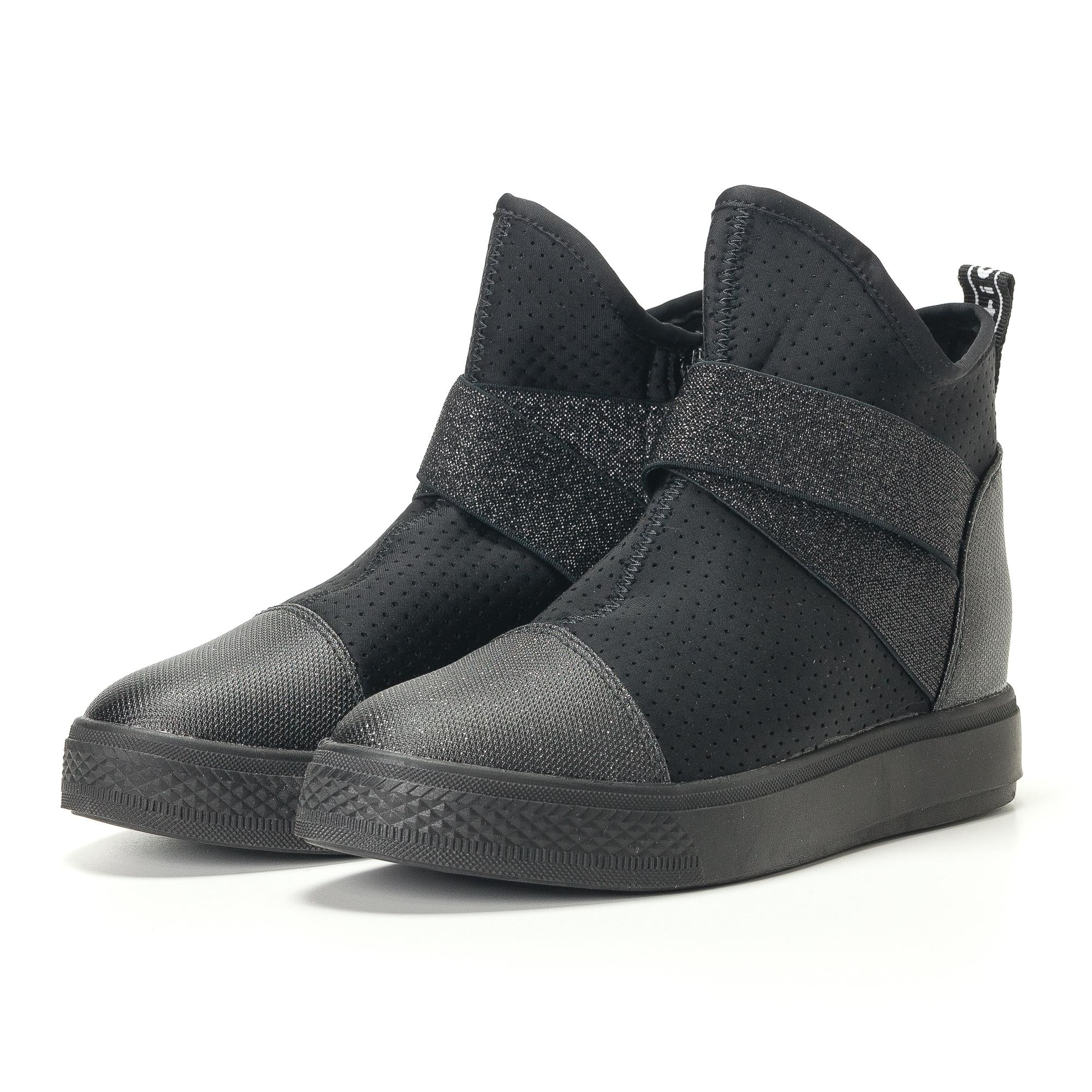 Γυναικεία μαύρα ψηλά sneakers από συνδυασμό υφασμάτων με σκούρα γκρι διακοσμητικά λαστιχάκια