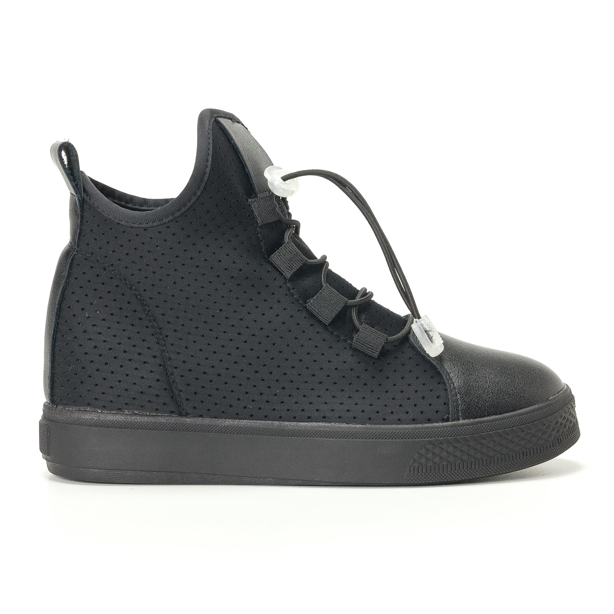 Γυναικεία μαύρα ψηλά sneakers από συνδυασμό υφασμάτων με ελαστικά κορδόνια