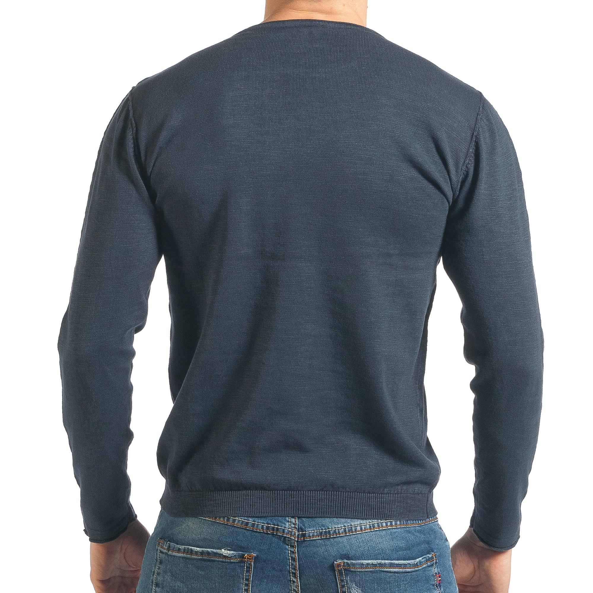 Ανδρικό γαλάζιο πουλόβερ Bruno Leoni
