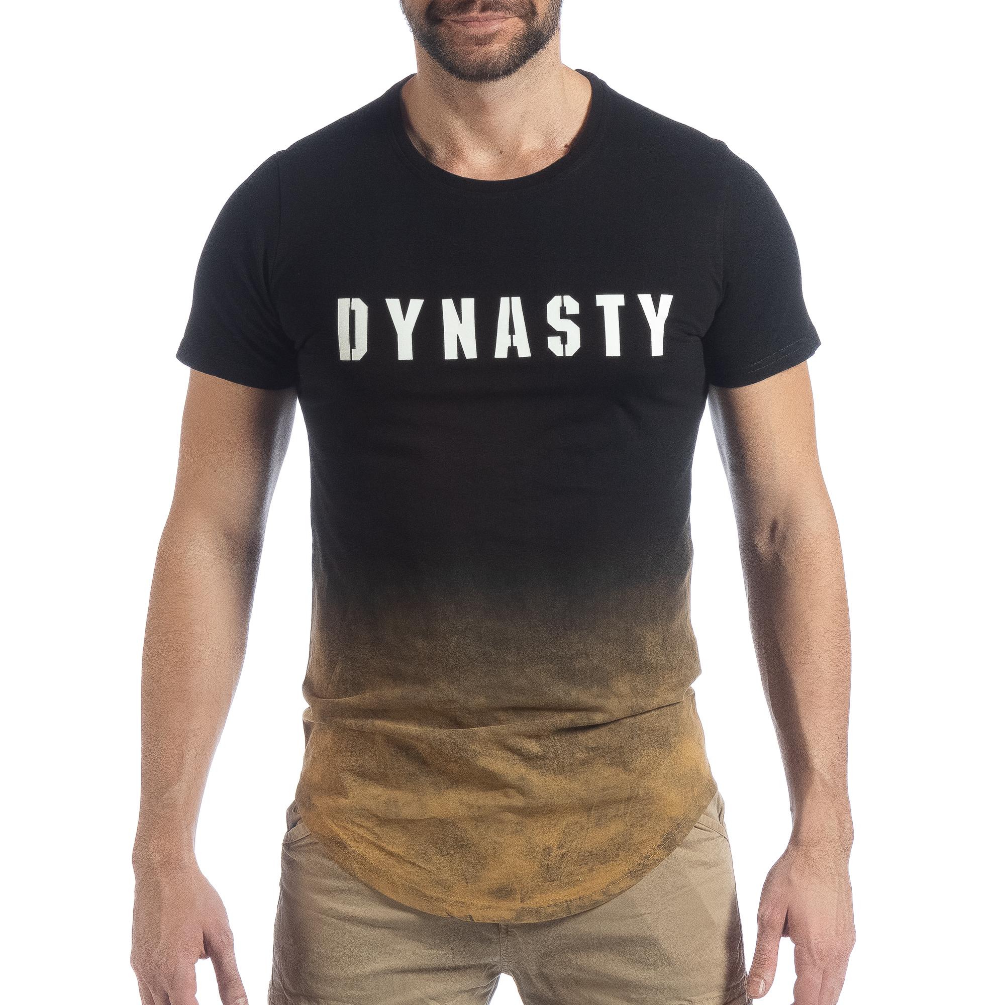 5b26dc36131c Ανδρική μαύρη κοντομάνικη μπλούζα Dynasty