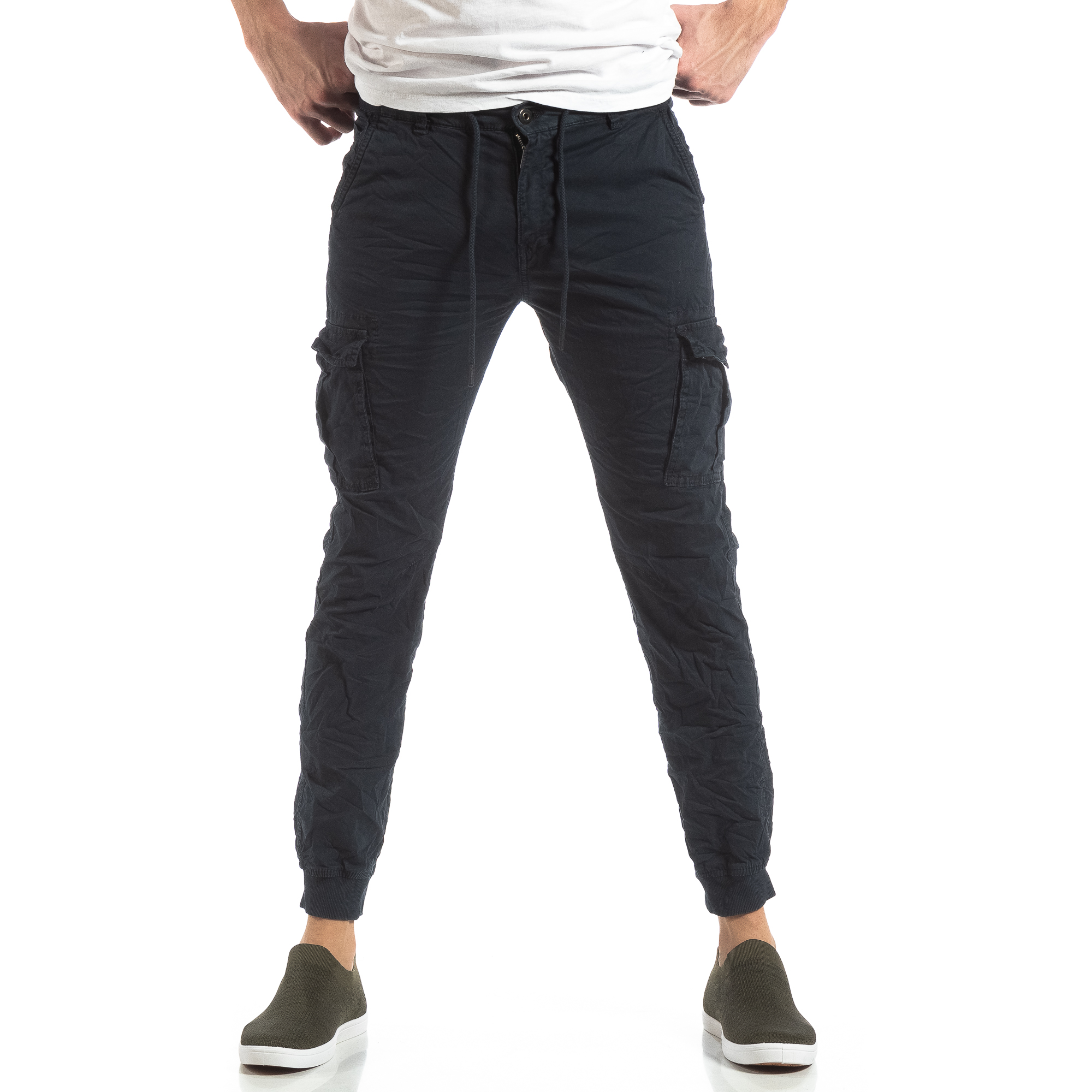 bbacc5d4b94 Ανδρικό σκούρο μπλε παντελόνι cargo με κορδόνια