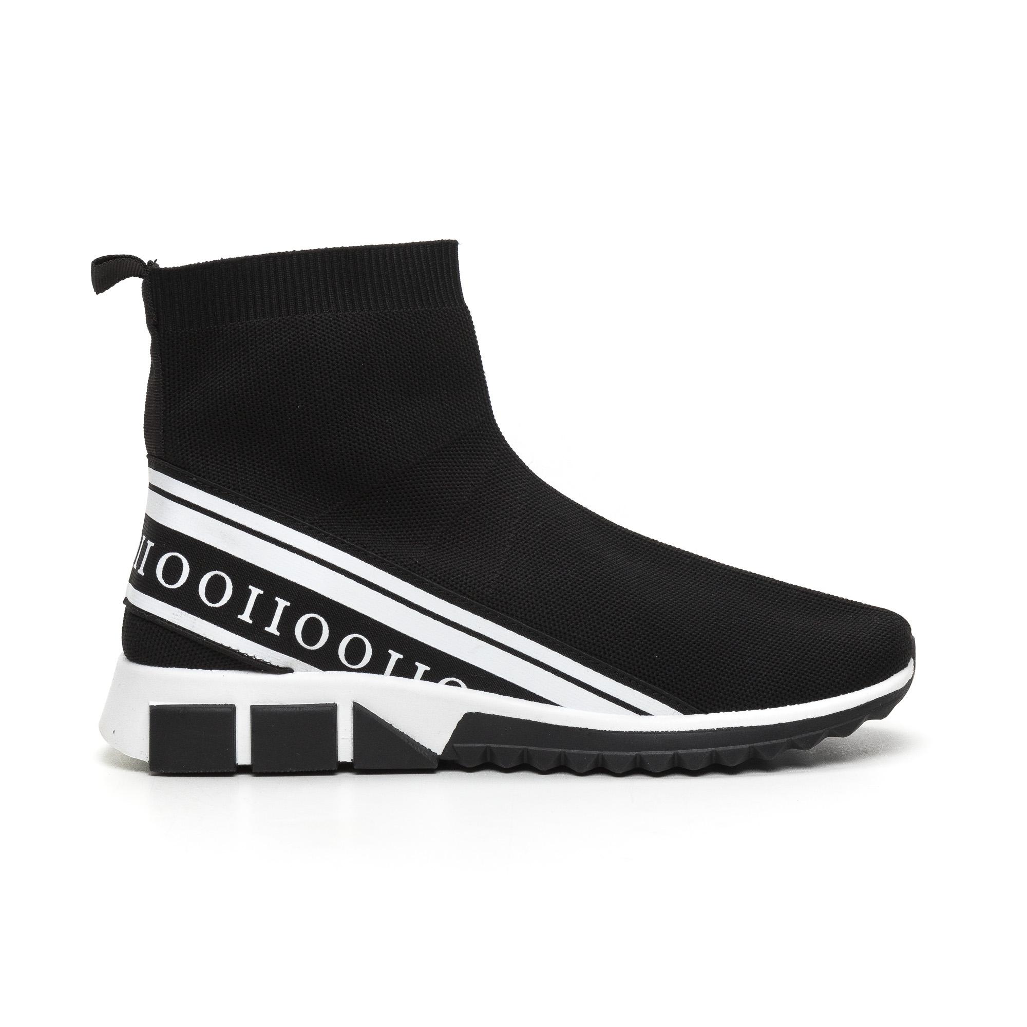 Ανδρικά αθλητικά παπούτσια τύπου κάλτσα με λευκή ρίγα