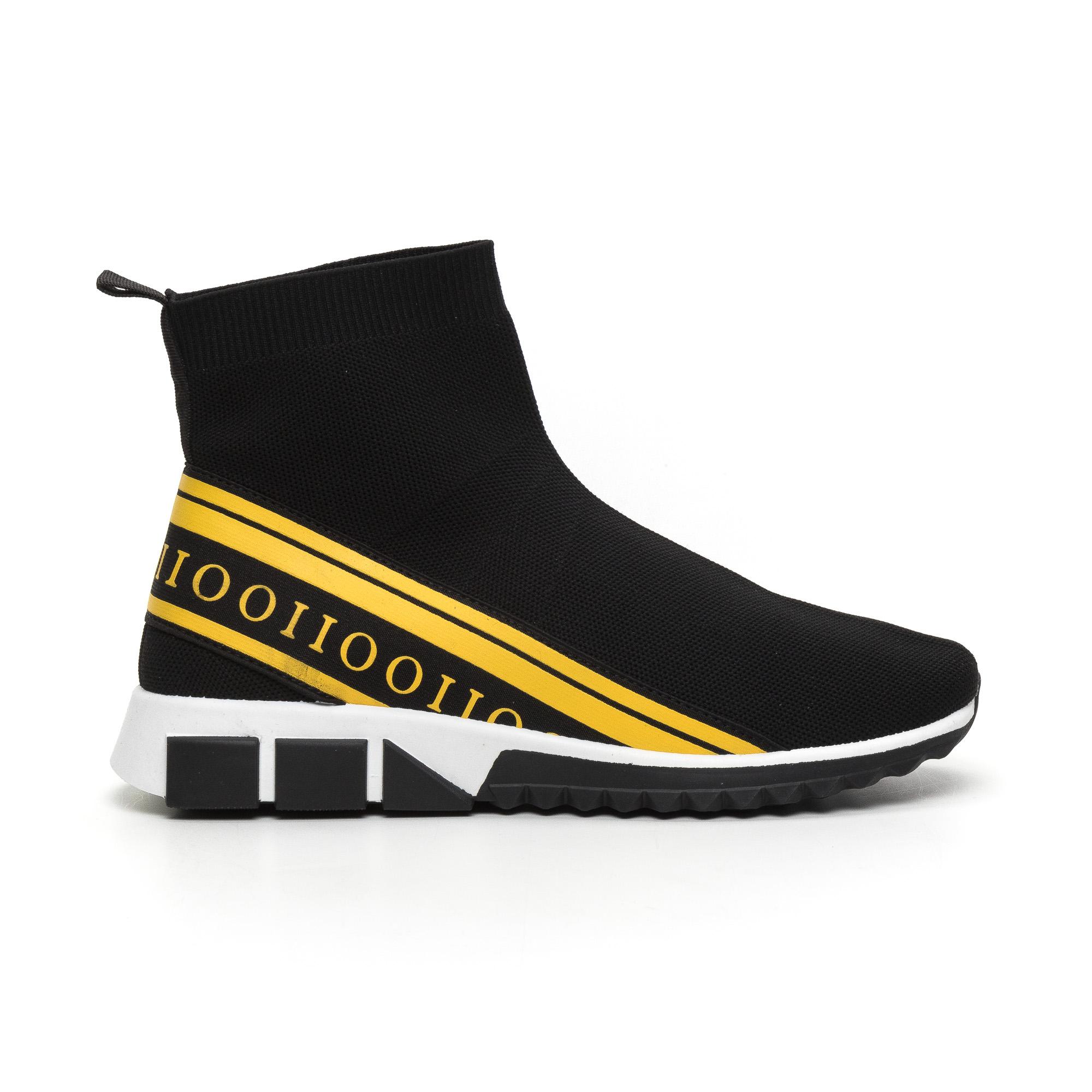 Ανδρικά αθλητικά παπούτσια τύπου κάλτσα με κίτρινη ρίγα