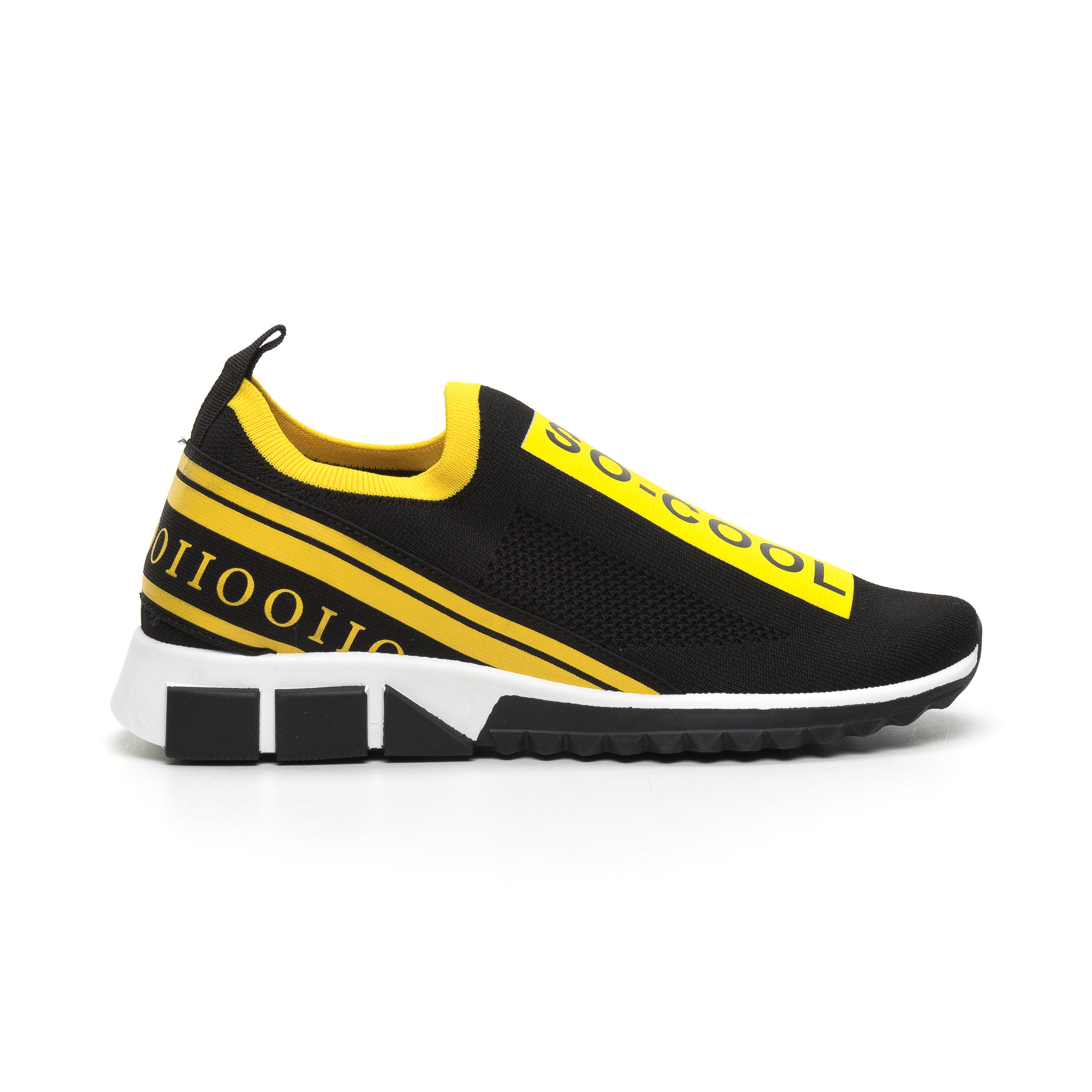 Slip-on ανδρικά μαύρα αθλητικά παπούτσια με κίτρινη ρίγα