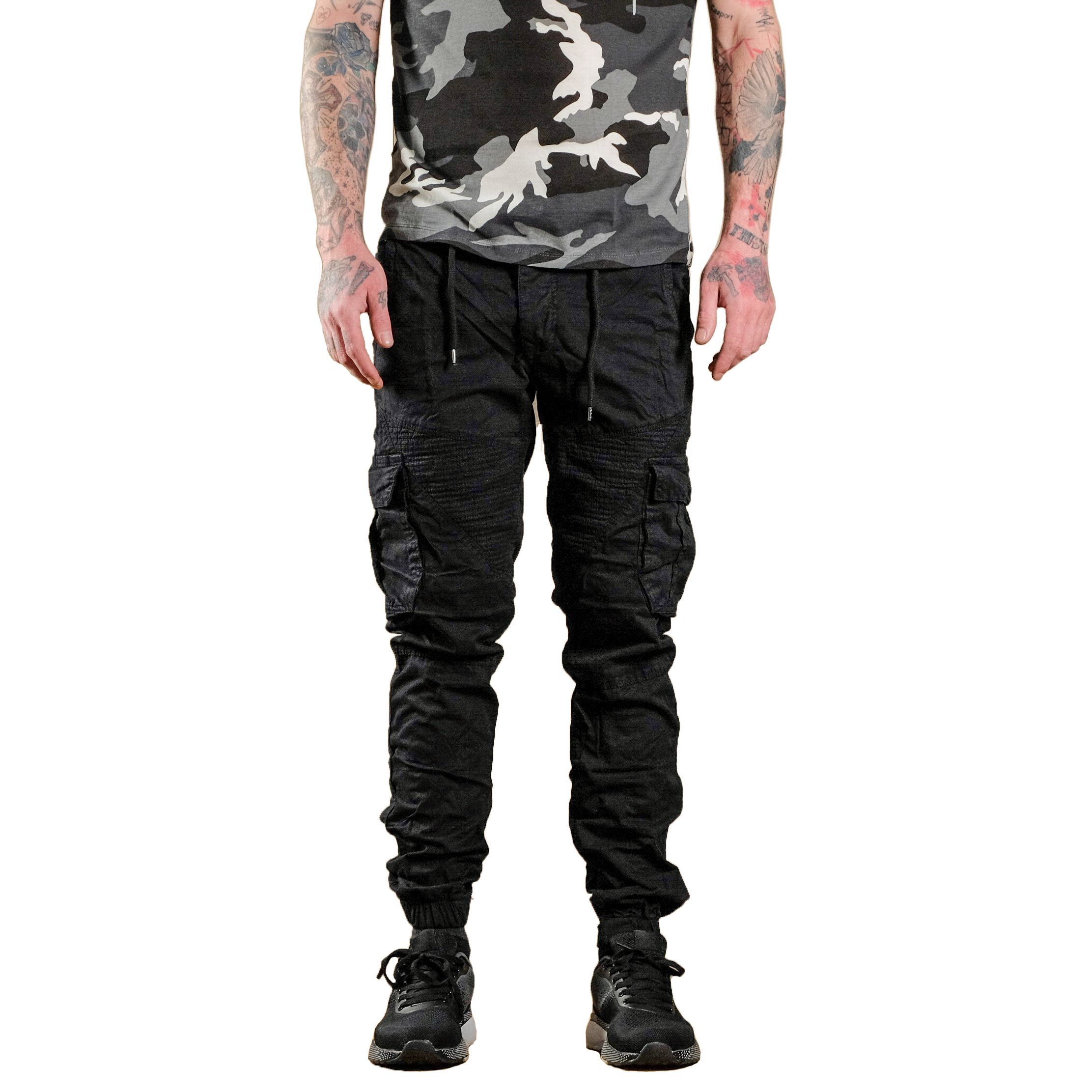 Ανδρικό μαύρο παντελόνι cargo Blackzi