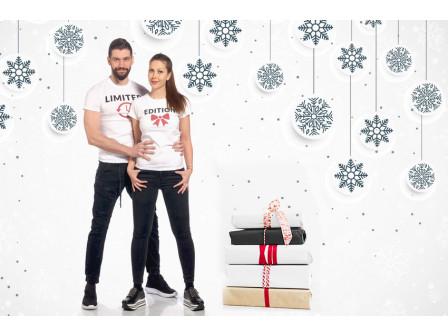 Коледен подарък за влюбени - тениски за двойки с любима щампа