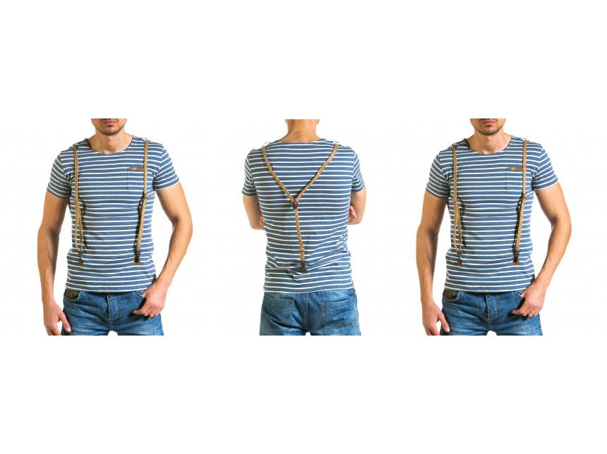 Раирана синьо-бяла тениска Stegol с тиранти